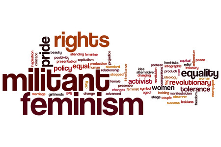 militant: Militant feminism word cloud concept Stock Photo