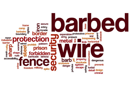 invade: Barbed wire word cloud concept