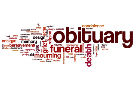chagrin: Obituary word cloud concept Stock Photo