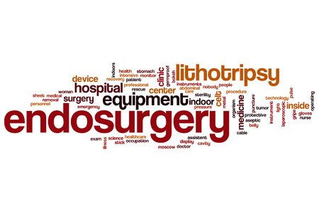 aseptic: Endosurgery word cloud concept Stock Photo