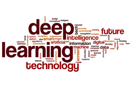 Deep learning word cloud concept Stock Photo