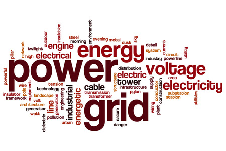 power grid: Power grid word cloud concept Stock Photo