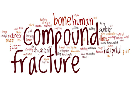 Compound fracture word cloud concept Stock Photo