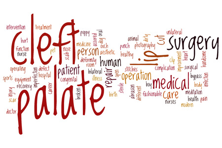 palate: Cleft palate word cloud concept Stock Photo