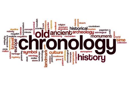 cronologia: Chronology word cloud concept Foto de archivo