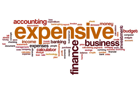 expensive: Expensive word cloud concept Stock Photo