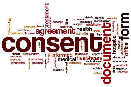 consent: Consent word cloud concept Stock Photo