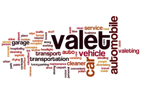 valeting: Valet word cloud concept Stock Photo