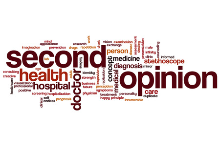 opinion: Second opinion word cloud concept Stock Photo