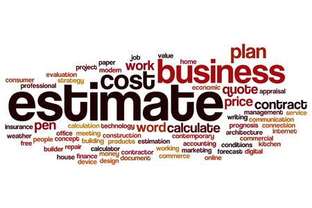 estimate: Estimate word cloud concept Stock Photo