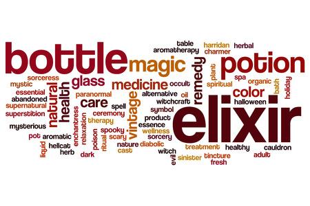 elixir: palabra elixir concepto de la nube Foto de archivo