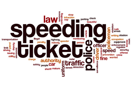 Speeding ticket word cloud concept
