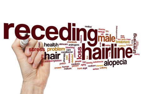hairline: Receding hairline word cloud concept Stock Photo