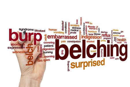 coy: Belching word cloud Stock Photo