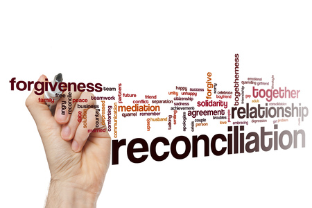 Reconciliation word cloud concept Foto de archivo