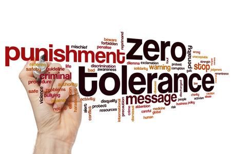 Zero tolerance word cloud concept