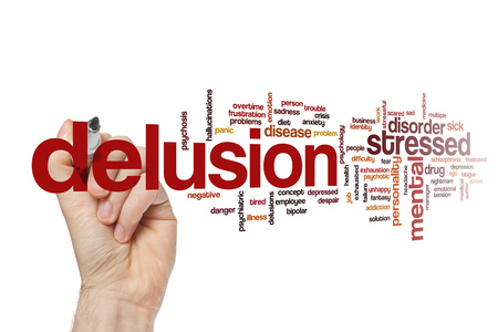 delusion: Delusion word cloud Stock Photo