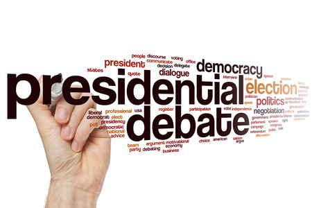 presidential: Presidential debate word cloud Stock Photo