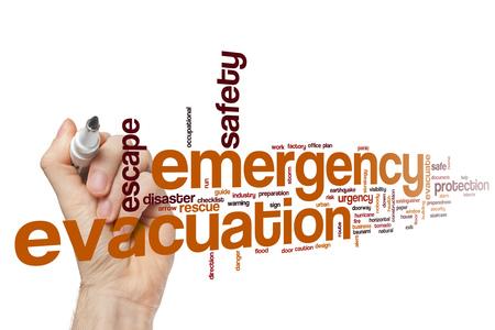 evacuacion: Emergency evacuation word cloud concept