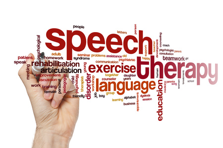 Speech therapy word cloud Stock Photo