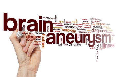 resonancia magnética: aneurisma cerebral concepto de nube de palabras Foto de archivo
