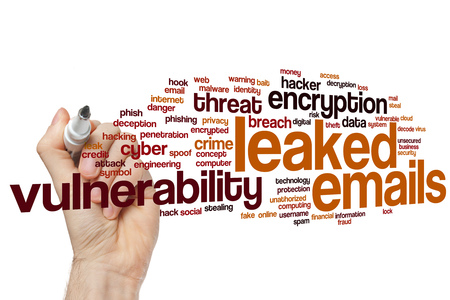 Leaked emails word cloud concept Stock Photo