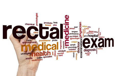 Rectal exam word cloud concept Stock Photo