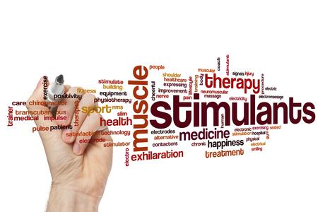 Stimulants word cloud concept Stock Photo