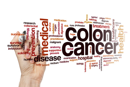 Colon cancer word cloud concept