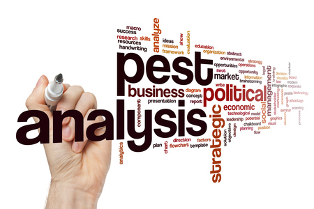 leadership potential: Pest analysis word cloud Stock Photo