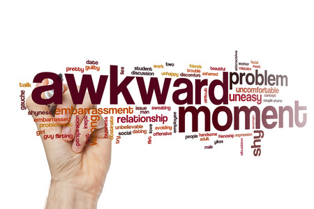 awkward: Awkward moment word cloud Stock Photo