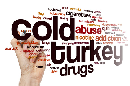 nicotine patch: Cold turkey word cloud concept Stock Photo