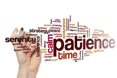 paciencia: La paciencia concepto de nube de palabras Foto de archivo