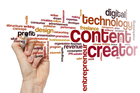 creador: Creador de contenido nube de palabras Foto de archivo