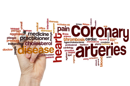 lipid: Coronary arteries word cloud concept Stock Photo