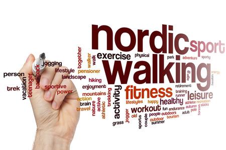 Nordic walking word cloud concept Stock Photo
