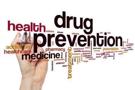 Drugspreventie word cloud concept Stockfoto