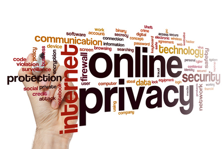 online privacy: Online privacy word cloud concept Stock Photo