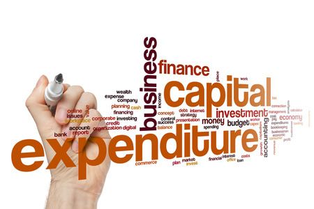 Capital expenditure word cloud concept Stock Photo