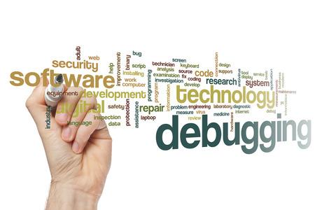 debugging: Debugging word cloud concept