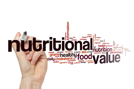 Nutritional value word cloud concept Stock Photo