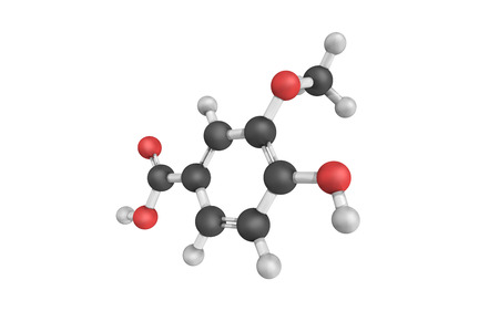 angelica sinensis: 3d structure of Vanillic acid, a dihydroxybenzoic acid derivative used as a flavoring agent. It is an oxidized form of vanillin and an intermediate in the production of vanillin from ferulic acid.
