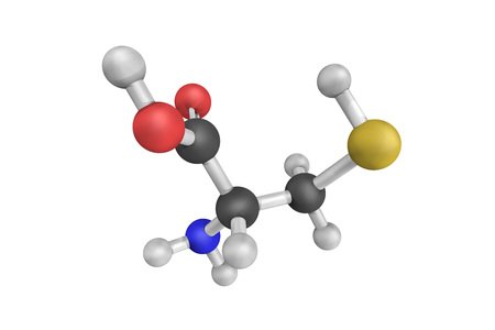 disulfide: 3d structure of Cysteine (abbreviated as Cys or C), a semi-essential proteinogenic amino acid. It is encoded by the codons UGU and UGC. Stock Photo