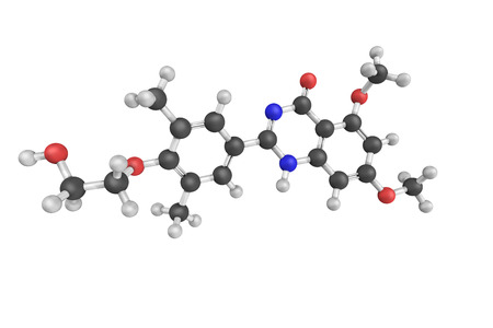 atherosclerosis: 3d structure of Apabetalone, an orally available small molecule that is being evaluated in clinical trials for the treatment of atherosclerosis and associated cardiovascular disease.