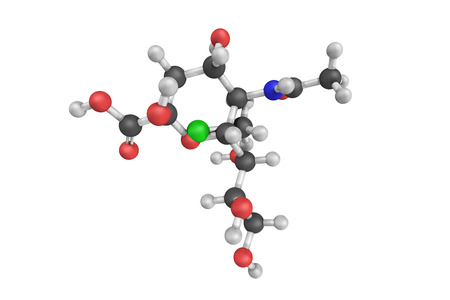 derivative: 3d structure of Lactaminic acid, an N-acyl derivative of neuraminic acid. N-acetylneuraminic acid occurs in many polysaccharides, glycoproteins, and glycolipids in animals and bacteria.