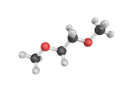 3d structure of Dimethyl ether (DME), also known as methoxymethane. The simplest ether, it is a colorless gas and an isomer of ethanol.