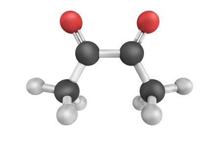 3d structure of Diacetyl, a yellowgreen liquid with an intensely buttery flavor. Diacetyl occurs naturally in alcoholic beverages and is added to some foods to impart its buttery flavor. Stock Photo