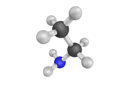 3d structure of Ethanimine, an organonitrogen compound classified as an imine. It is not well known terrestrially, but has been detected towards a dense interstellar cloud. Stock Photo