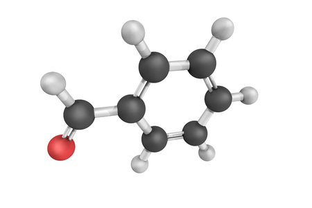 industrially: 3d structure of Benzaldehyde, the simplest aromatic aldehyde and one of the most industrially useful. This colorless liquid has a characteristic almond-like odor.