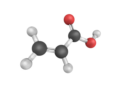 3d structure of acrylic acid, an organic compound. It is a colorless liquid and the simplest unsaturated carboxylic acid, consisting of a vinyl group connected directly to a carboxylic acid terminus.